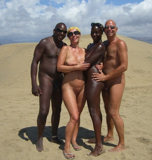 Interracial couples at beach