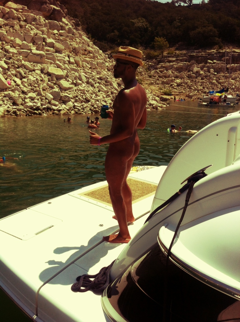 Nude dude on boat